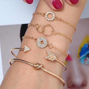 Gold Metal Geometric Shape Rhinestone Embellished Bracelet Set