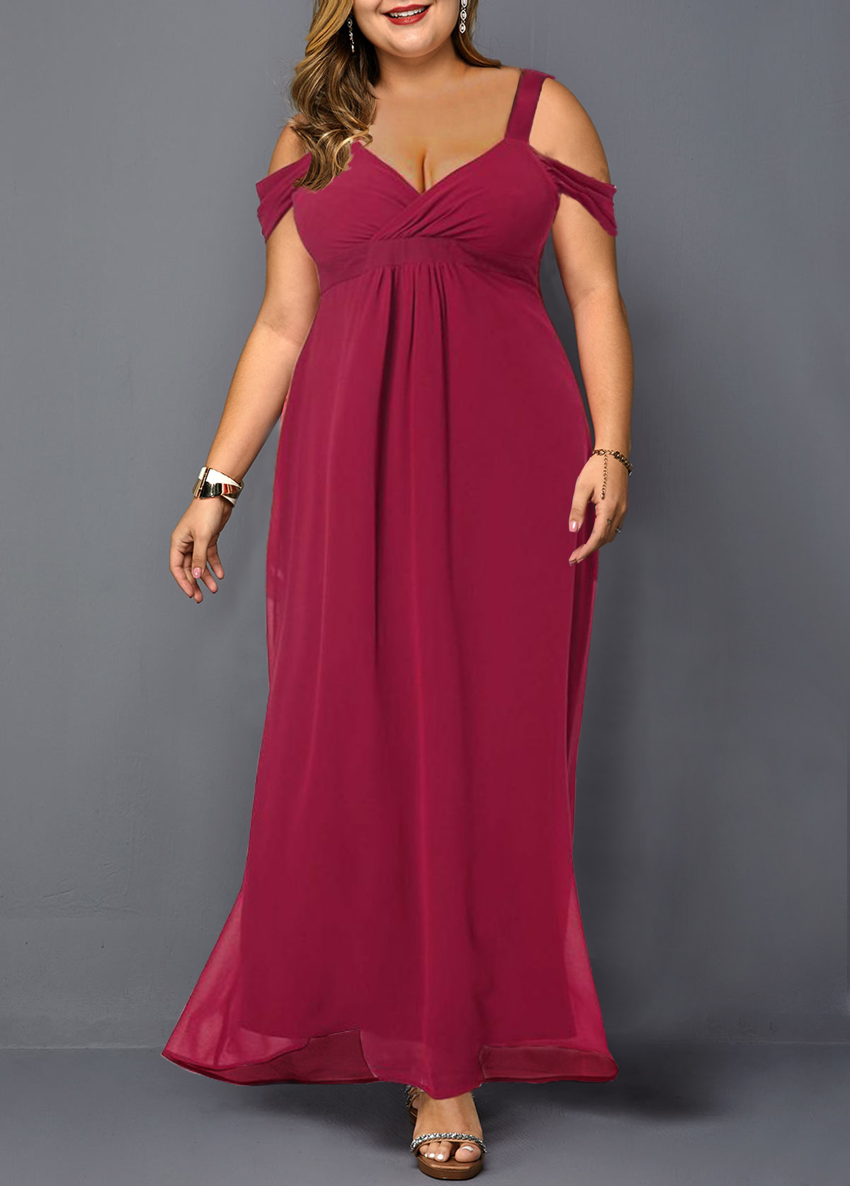 Plus Size Wine Red Strappy Cold Shoulder Dress