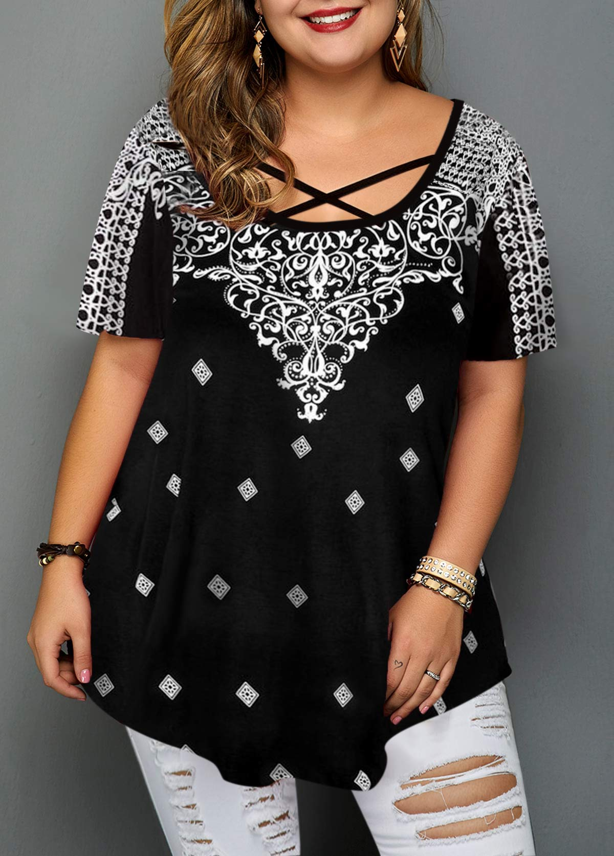 Plus Size Criss Cross Front Printed Blouse
