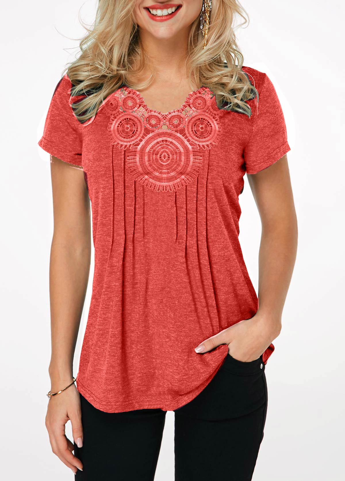 Short Sleeve Crinkle Chest Coral Red T Shirt