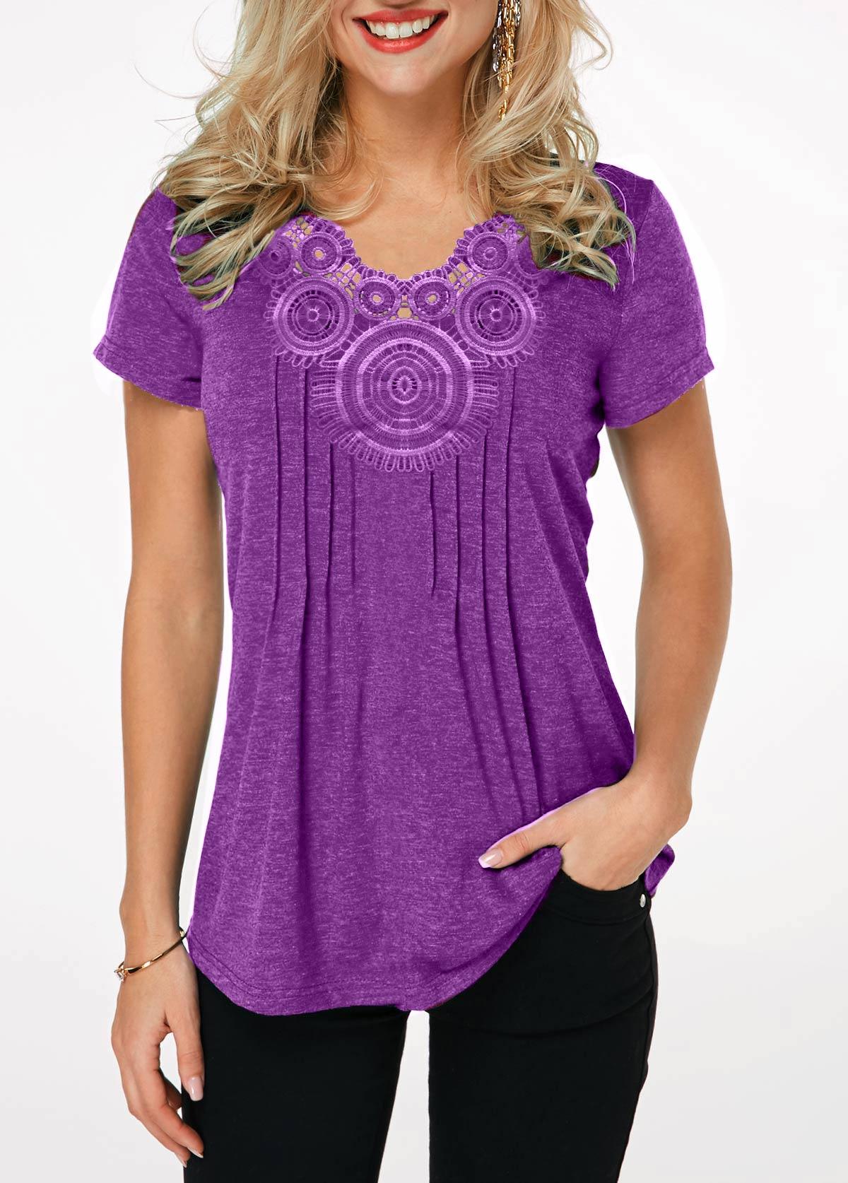 Crinkle Chest Lavender Short Sleeve T Shirt