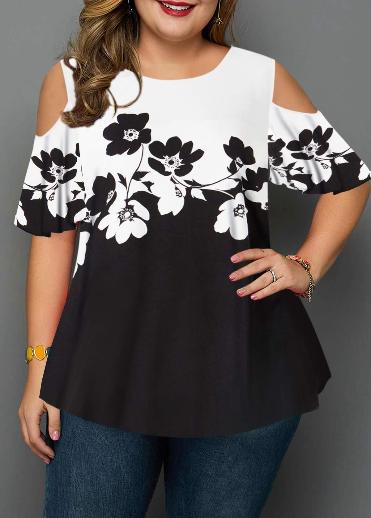 Plus Size Flower Print Cold Shoulder Blouse
