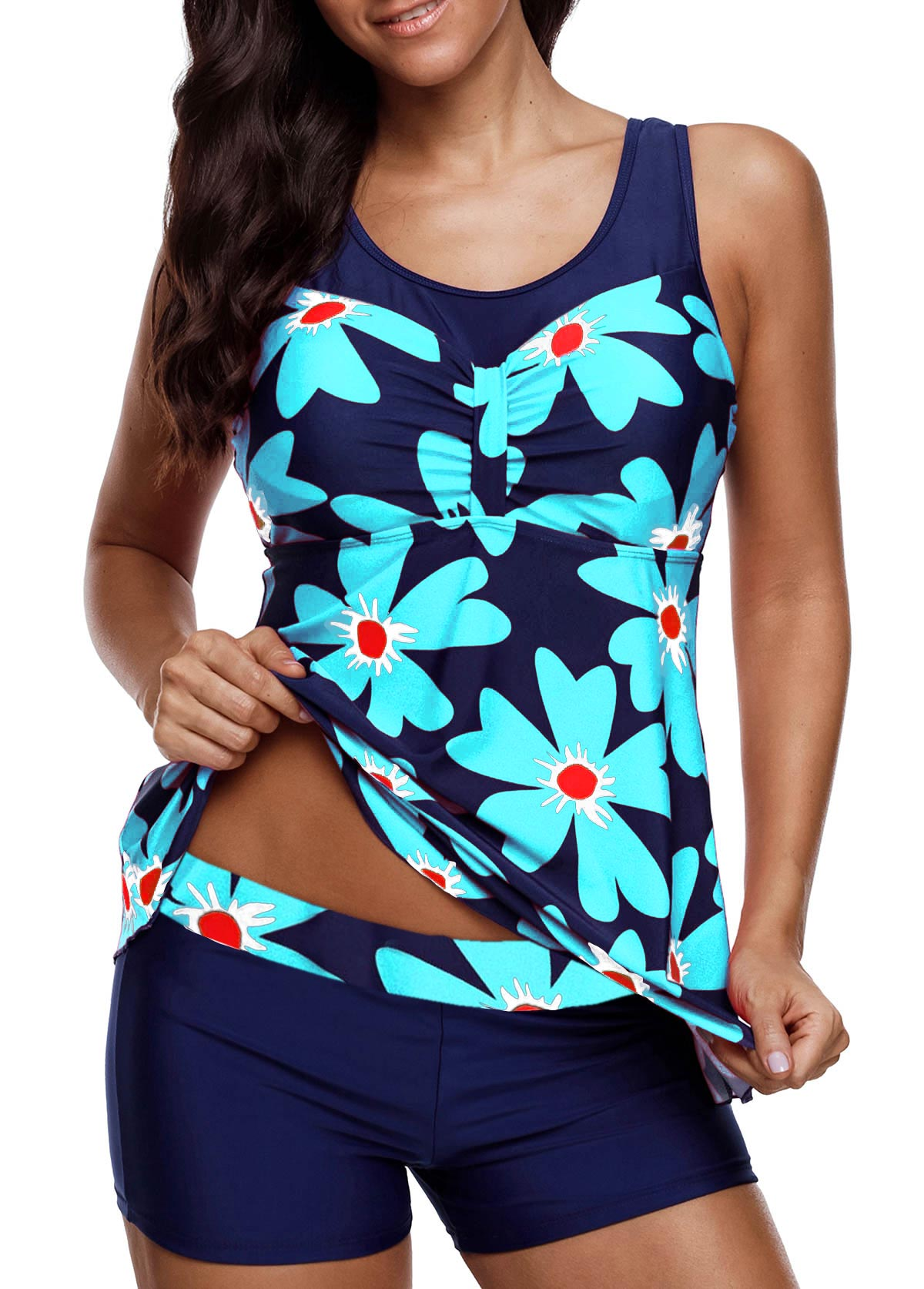 Round Neck Flower Print Tankini Top and Shorts