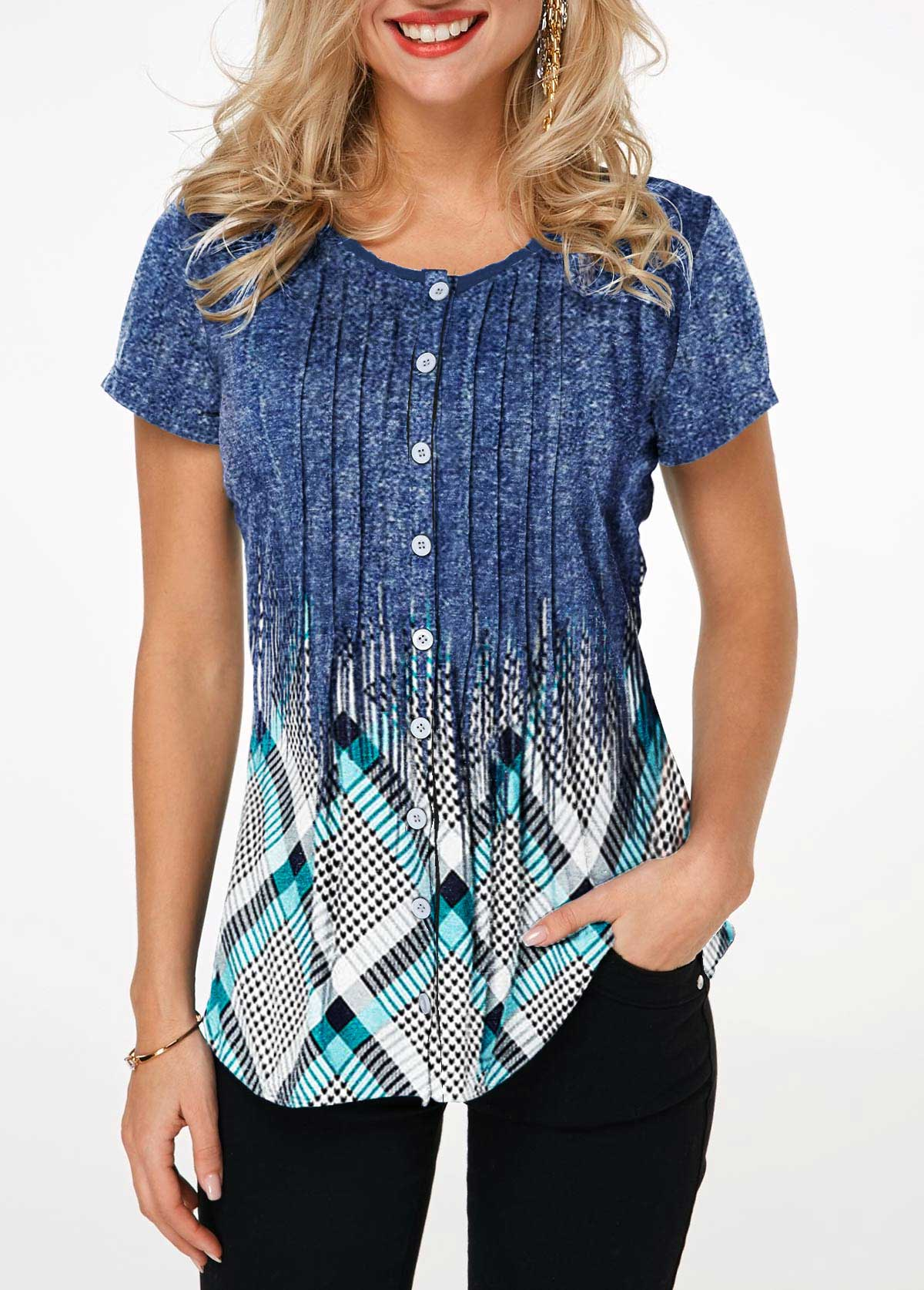 Crinkle Chest Button Up Geometric Print Shirt