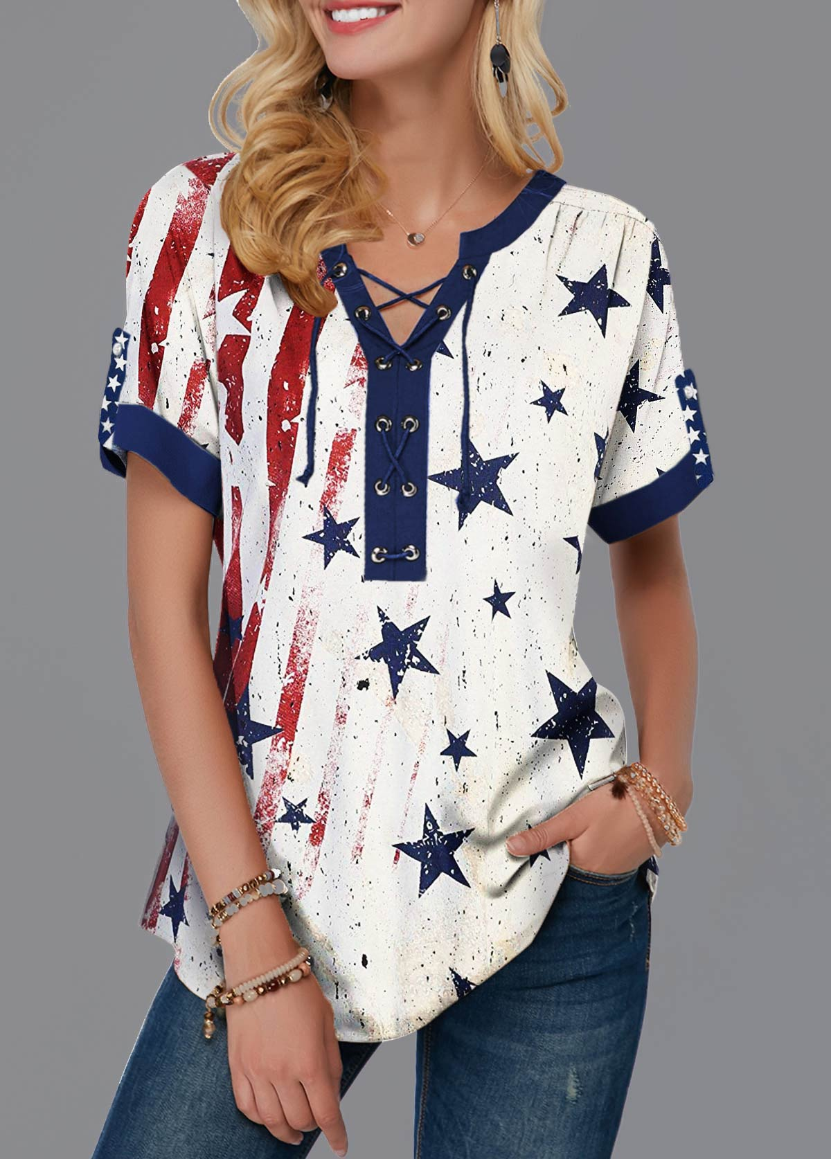 American Flag Print Lace Up Front Notch Neck T Shirt