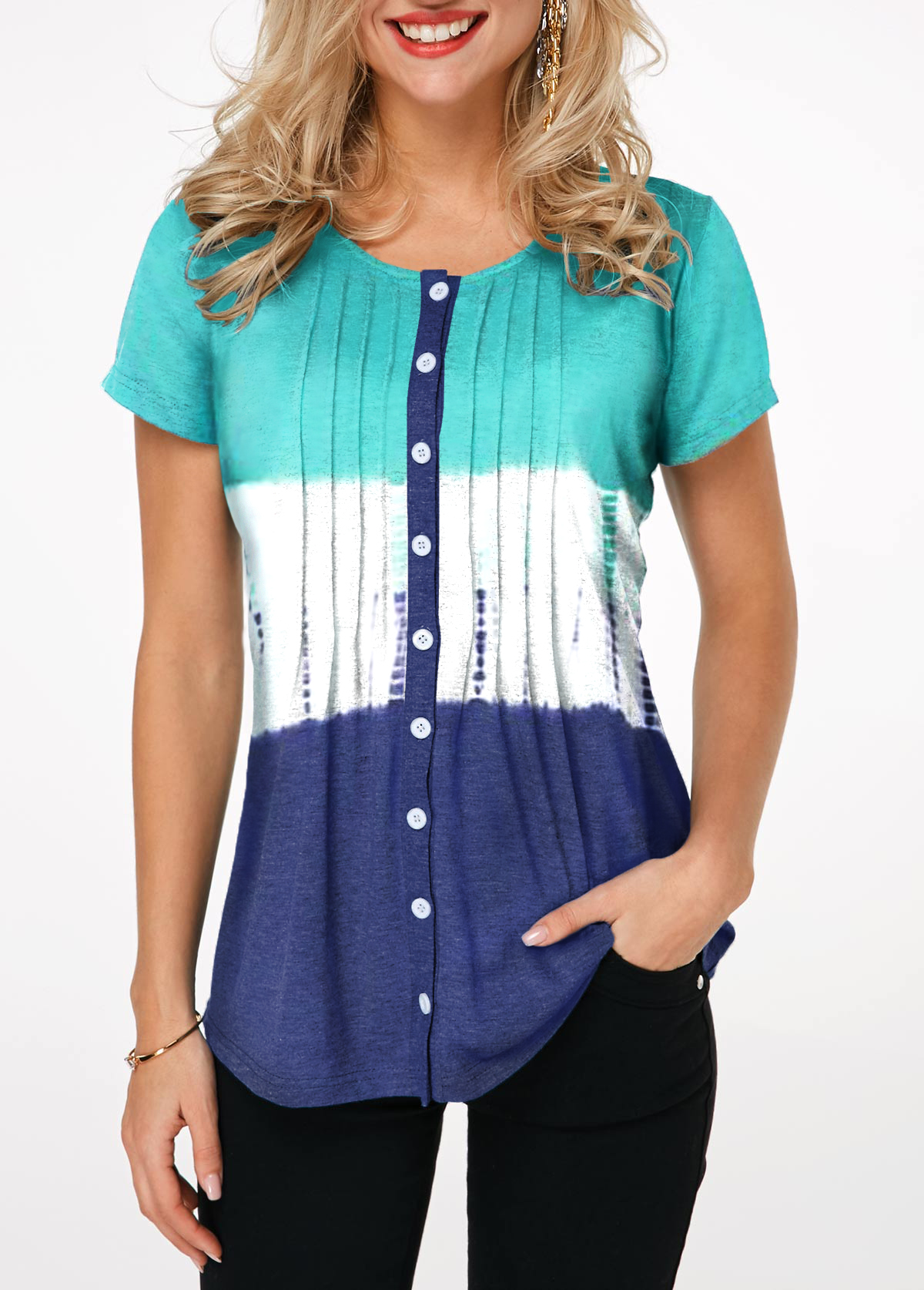 Button Up Short Sleeve Crinkle Chest Shirt