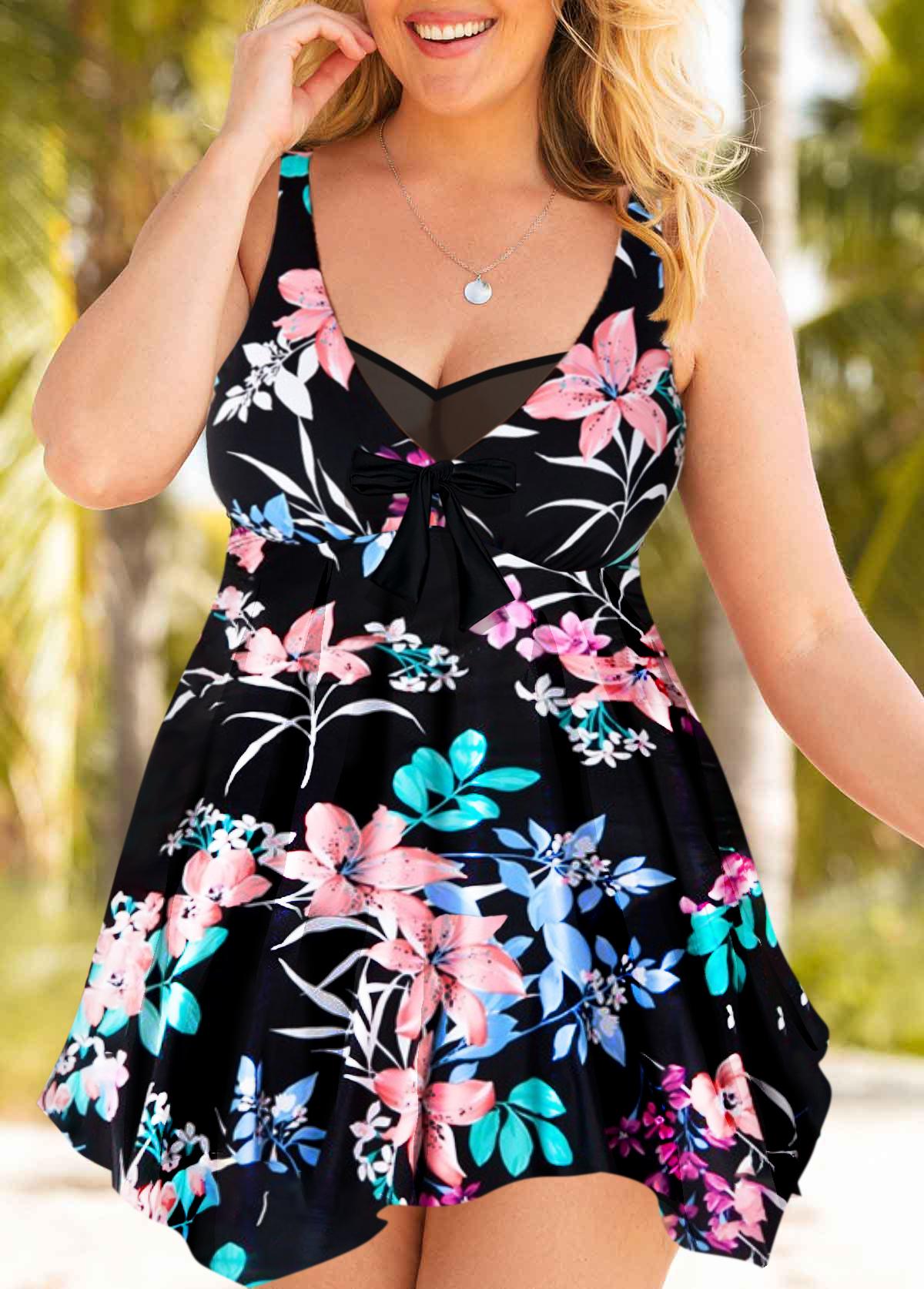 Asymmetric Hem Floral Print Plus Size Swimdress and Shorts