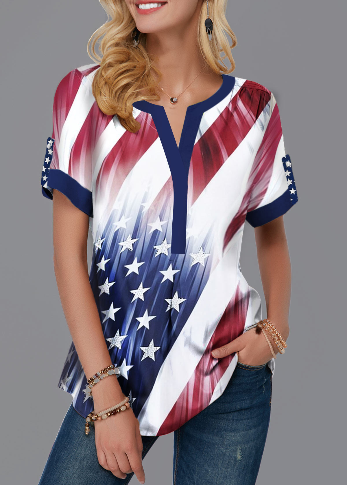 Contrast Piping Split Neck Printed Blouse