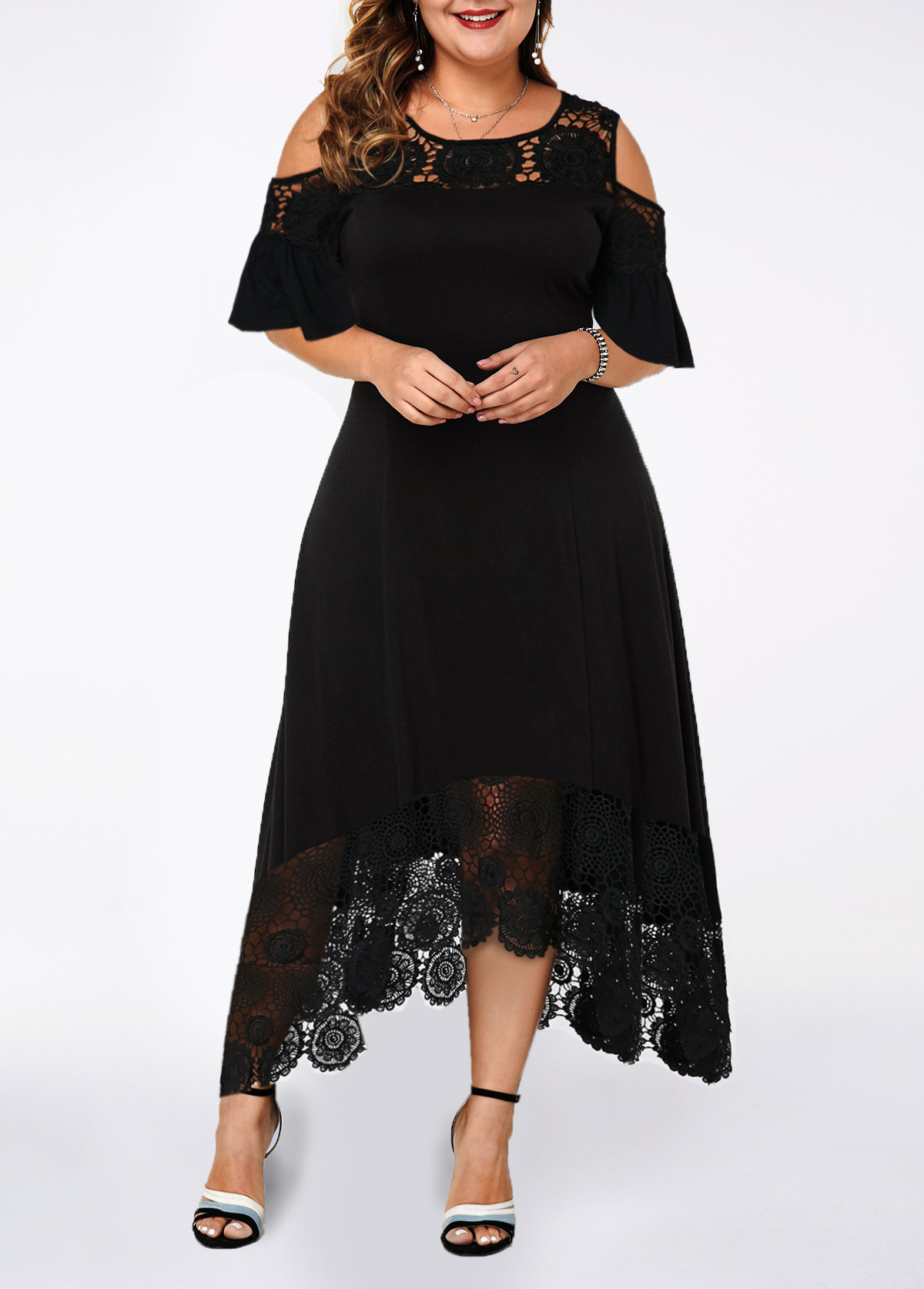 Cold Shoulder Lace Patchwork Plus Size Black Dress