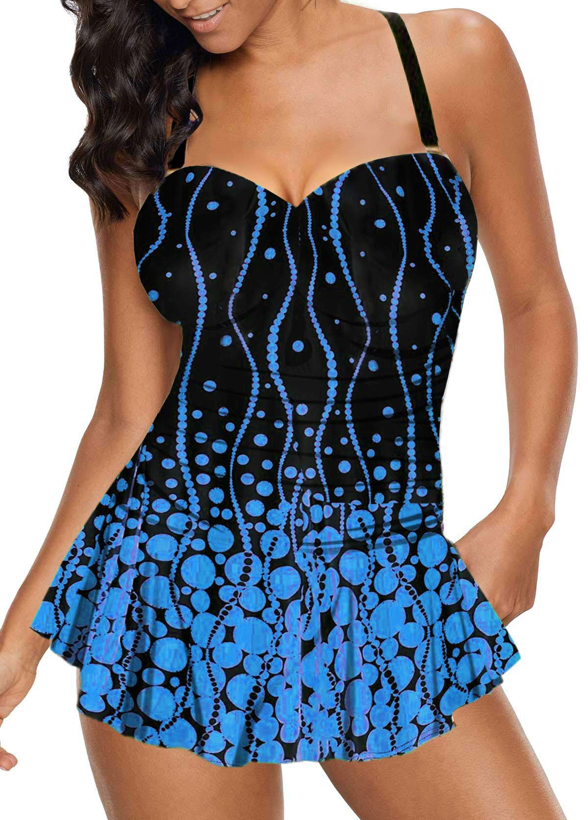 Polka Dot Print Spaghetti Strap Swimdress and Panty