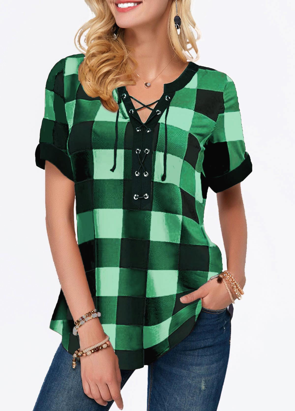Plaid Print Short Sleeve Split Neck Blouse
