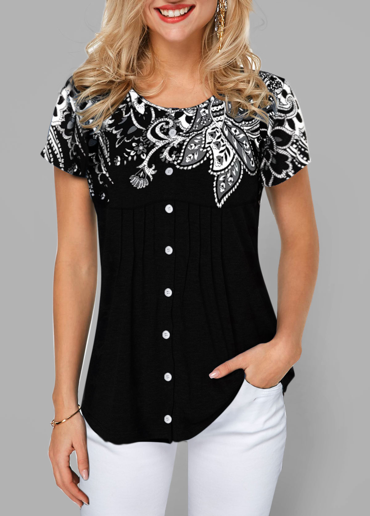Flower Print Button Front Short Sleeve T Shirt