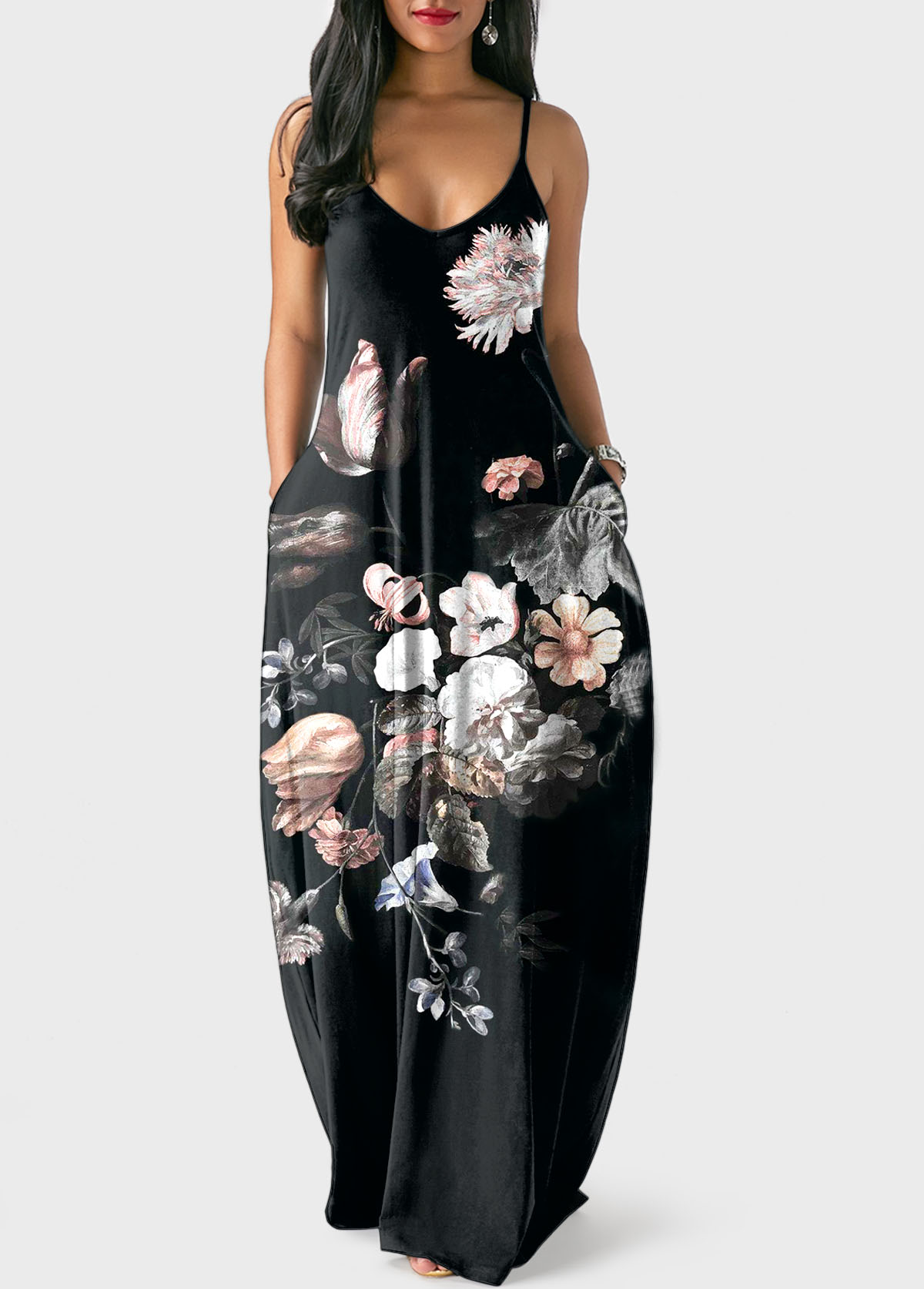 Large Floral Print Spaghetti Strap Black Dress