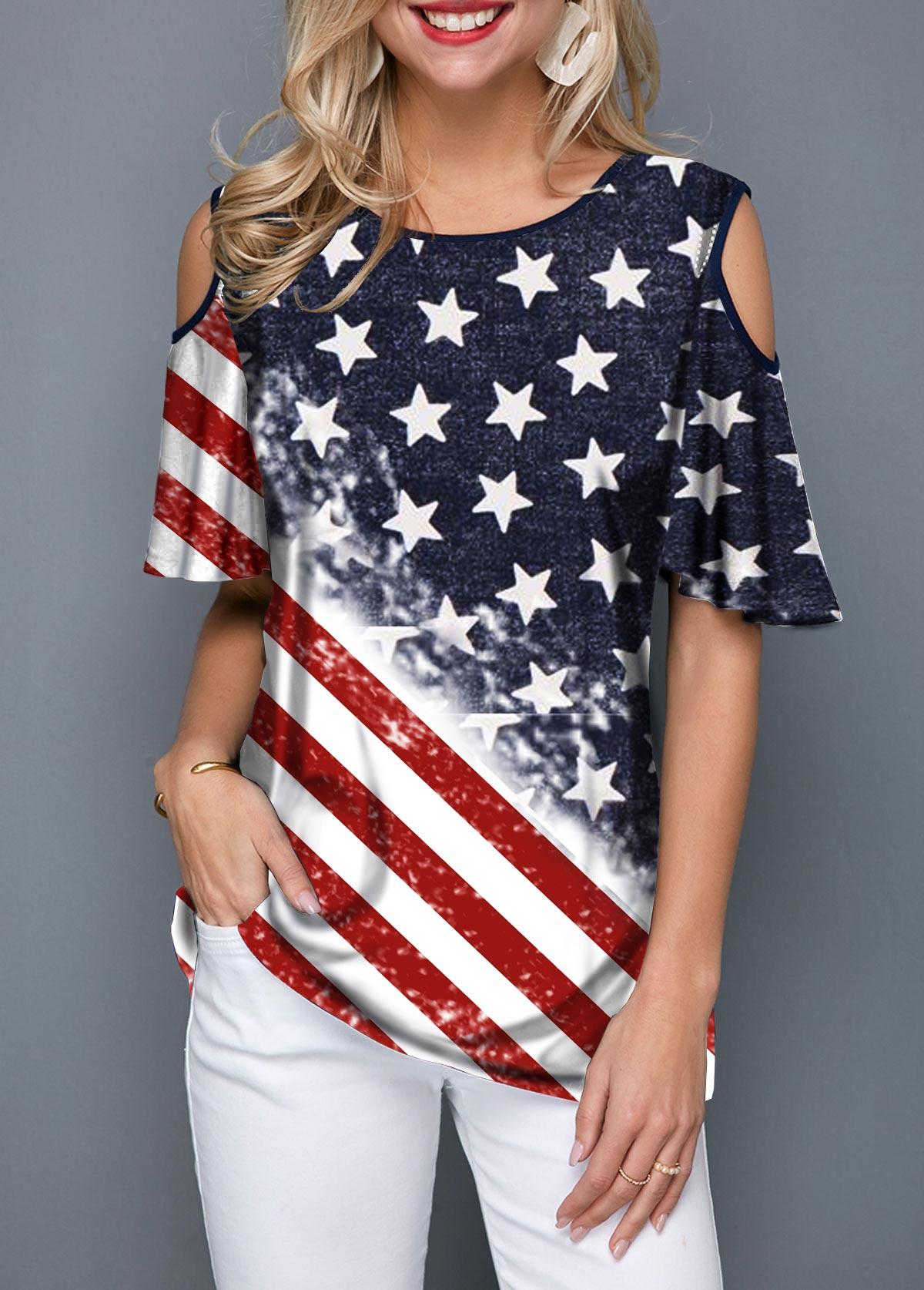 Round Neck Cold Shoulder Flag Print T Shirt