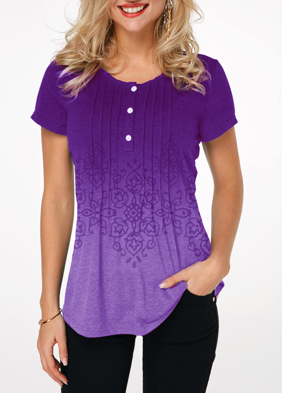 Button Detail Crinkle Chest Printed Gradient T Shirt