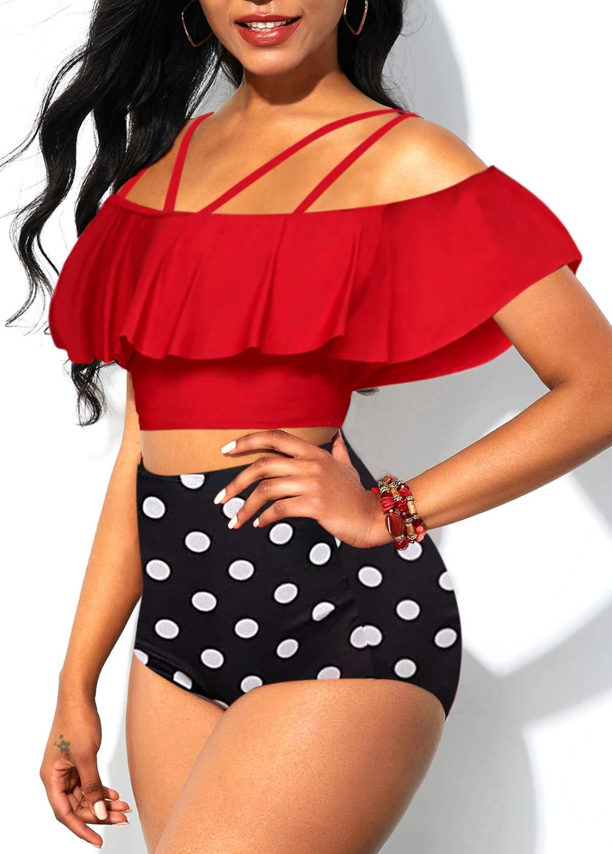 Polka Dot Print Ruffle Overlay High Waisted Bikini Set