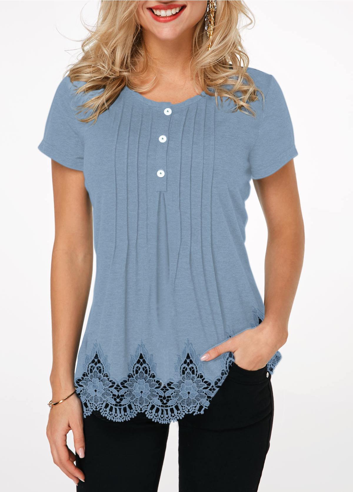 Crinkle Chest Scalloped Hem Lace Panel T Shirt