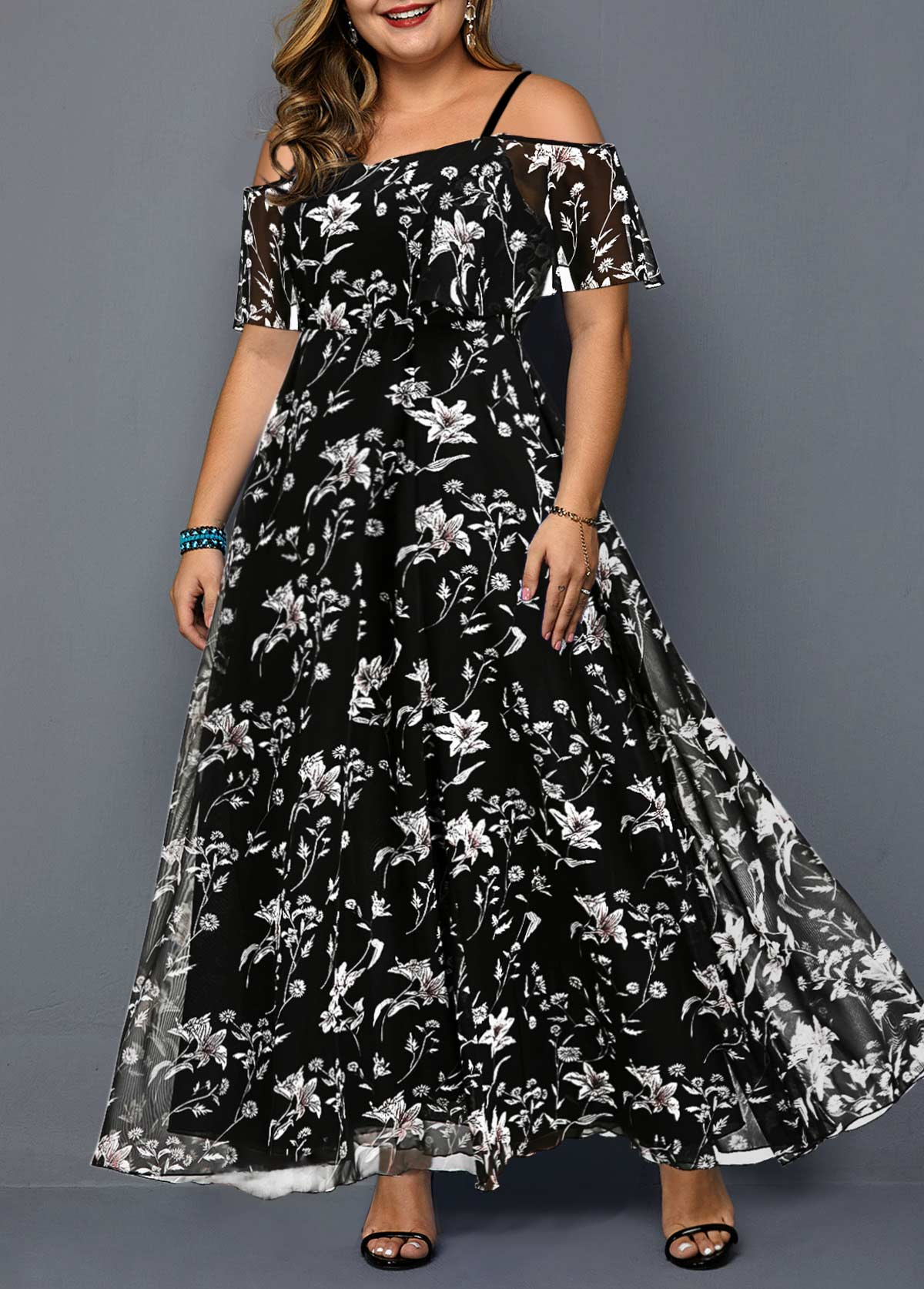 Plus Size Prined Black Strappy Cold Shoulder Dress