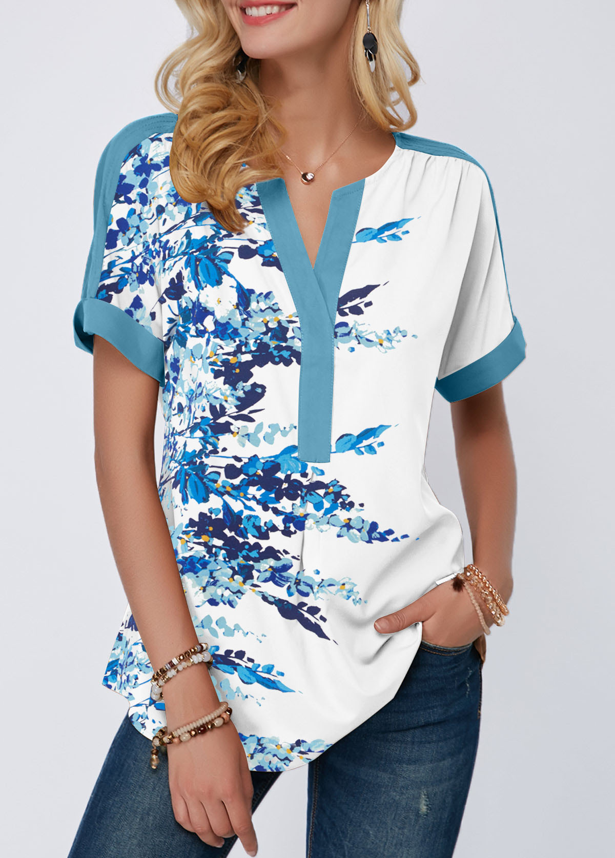 Short Sleeve Split Neck Blossom Print T Shirt