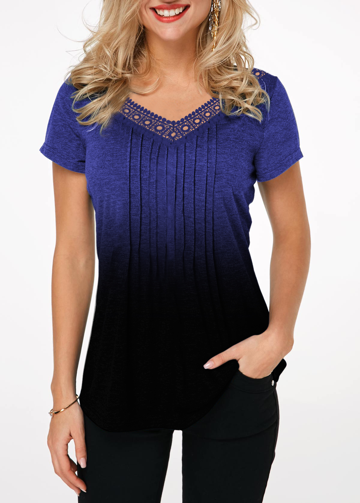 Lace Patchwork Short Sleeve Gradient Crinkle Chest T Shirt