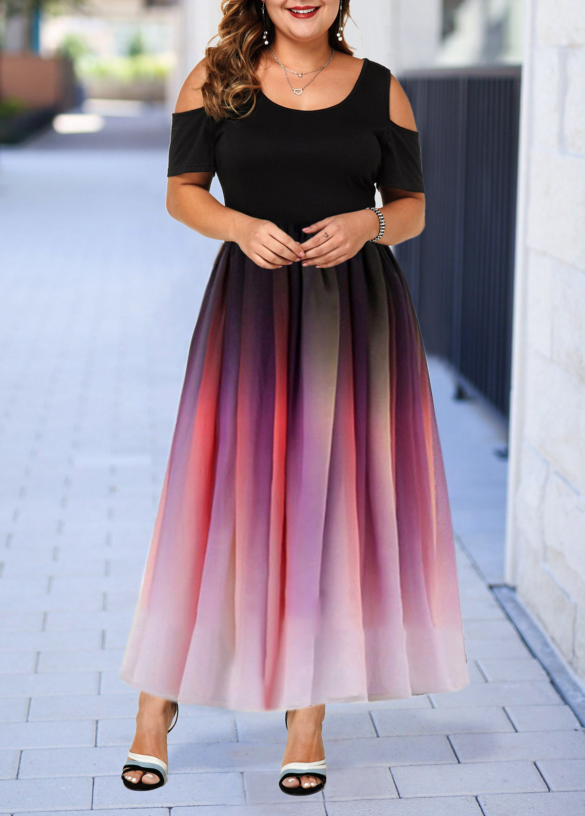 Plus Size Cold Shoulder Half Sleeve Gradient Dress