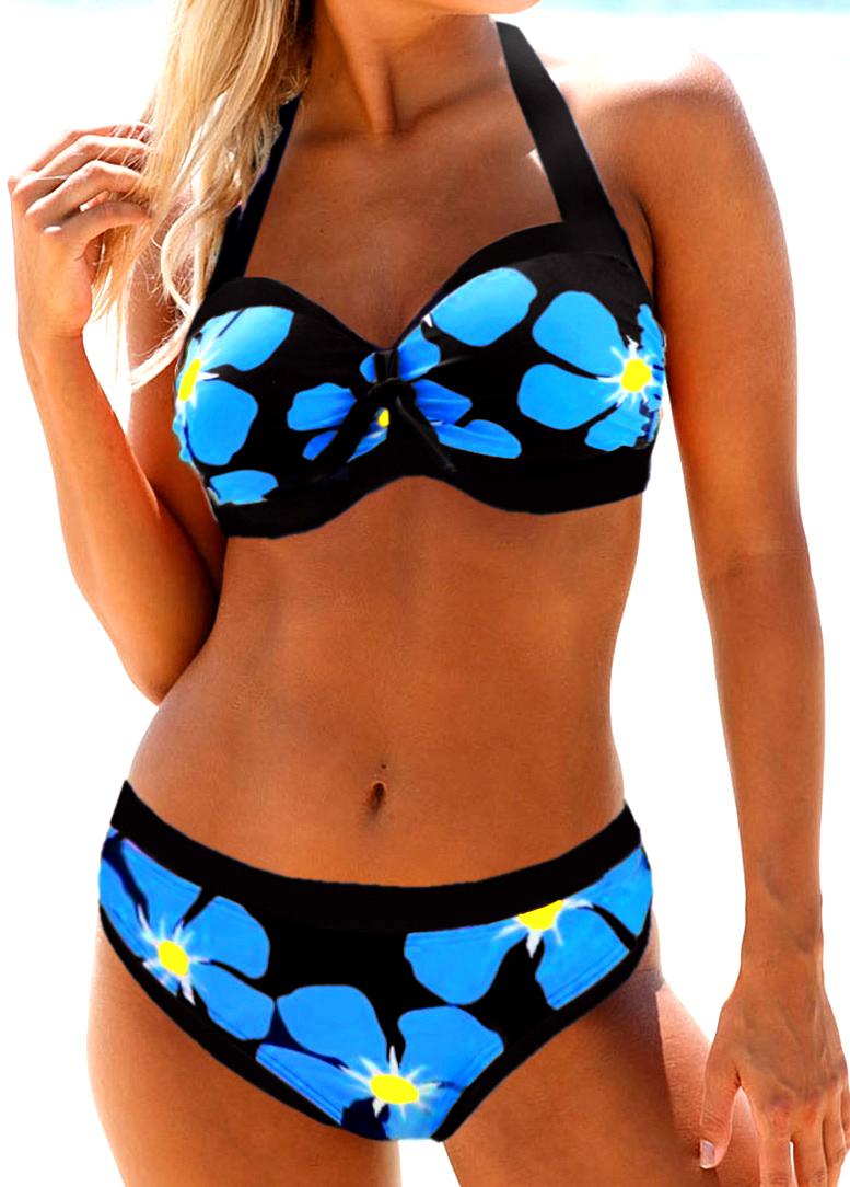 Flower Print Halter Neck Bikini Set