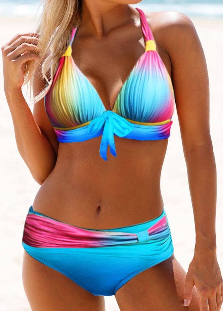 Halter Neck Tie Front Printed Bikini Set