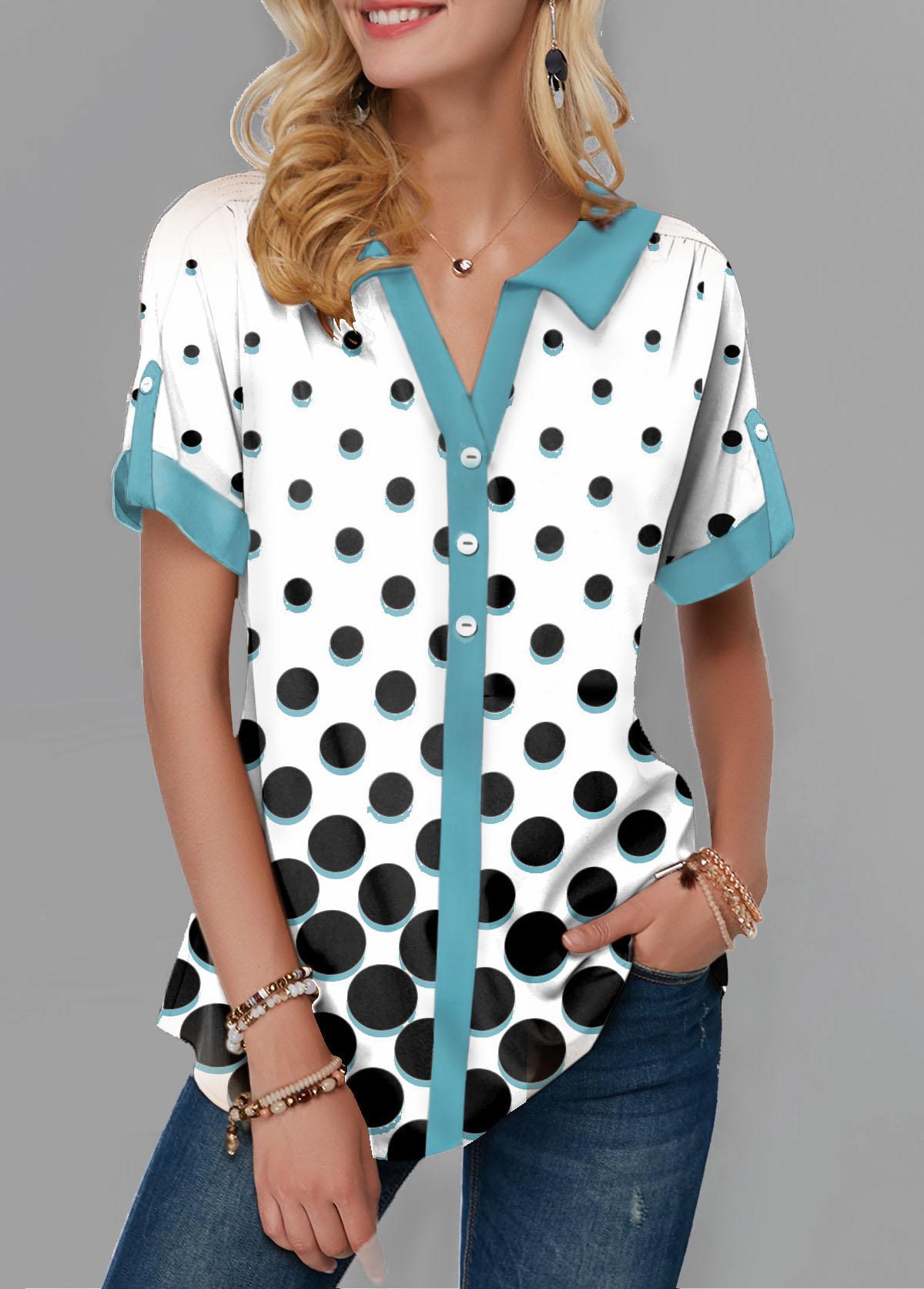 Roll Tab Sleeve Split Neck Polka Dot Print Blouse
