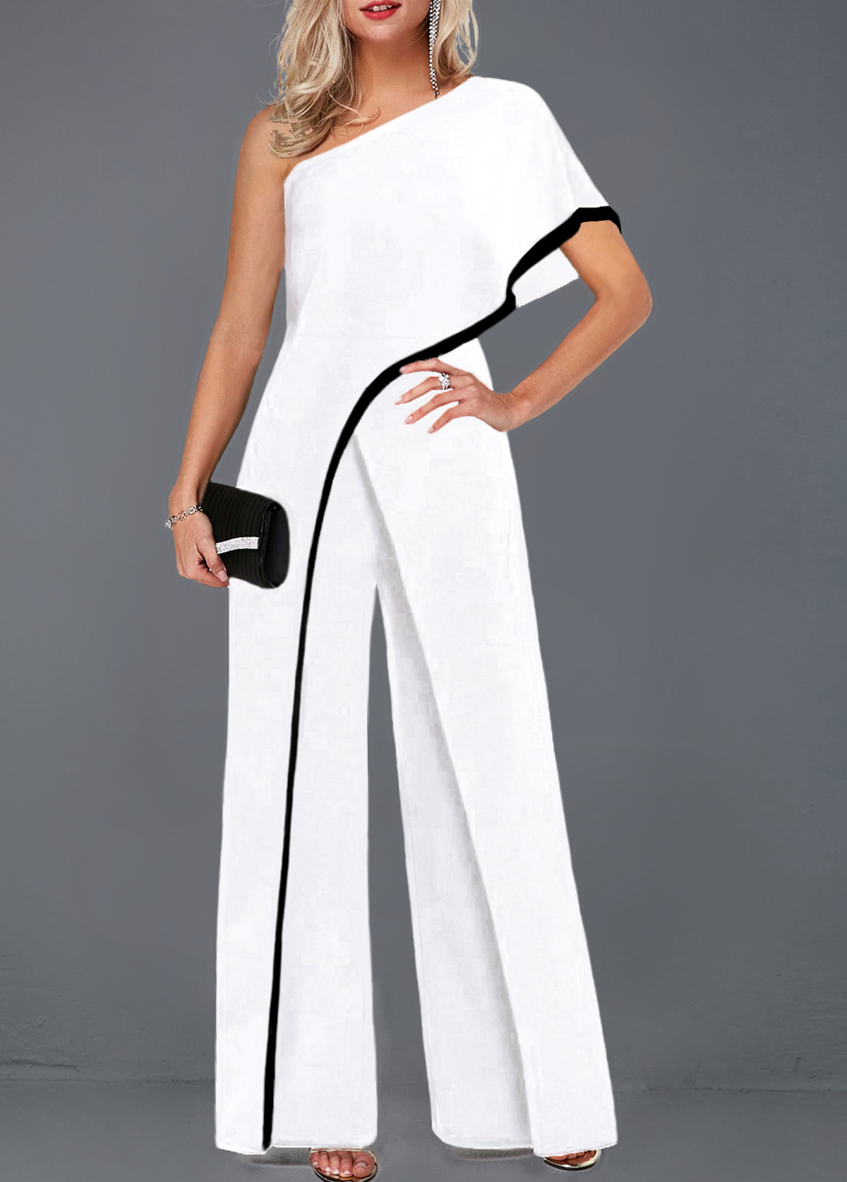 White One Sleeve Contrast Piping Jumpsuit