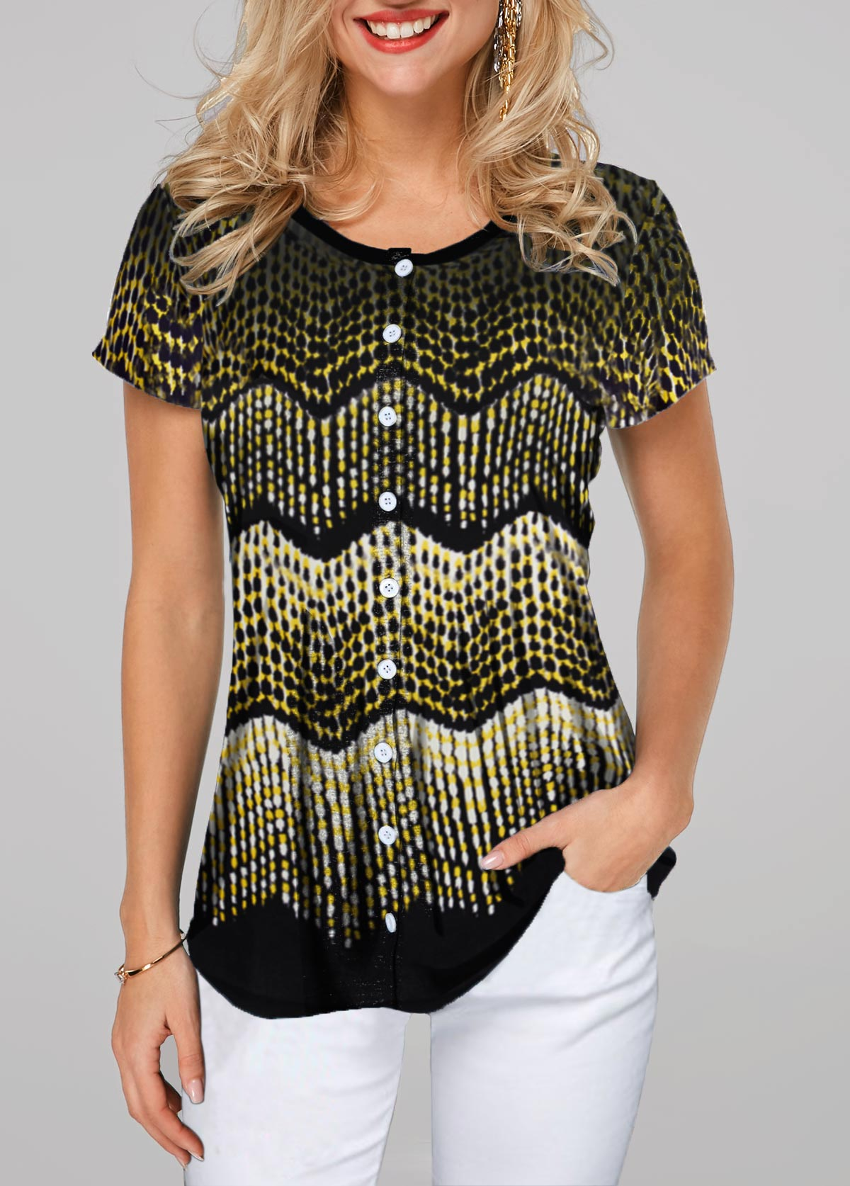 Printed Button Up Short Sleeve T Shirt