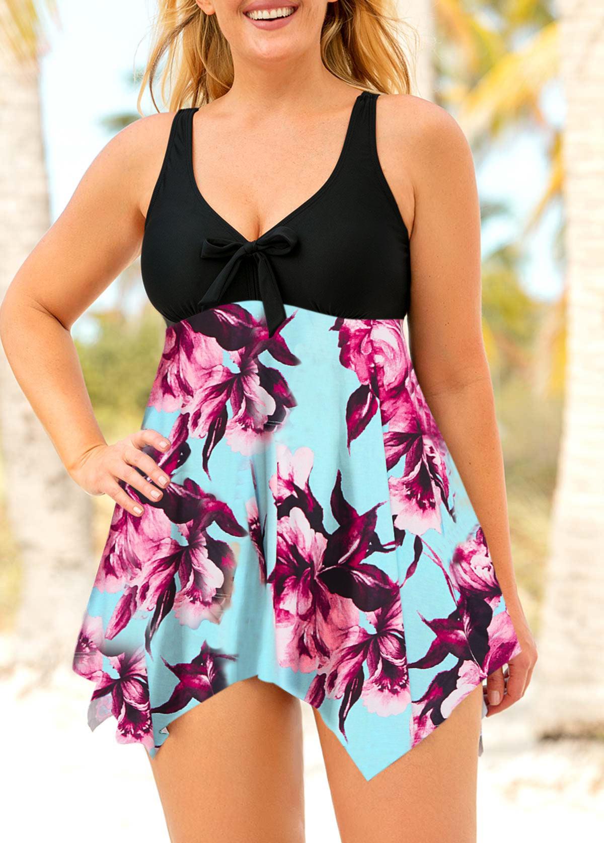 449aaf665a2 Handkerchief Hem Large Floral Print Plus Size Swimdress and Shorts