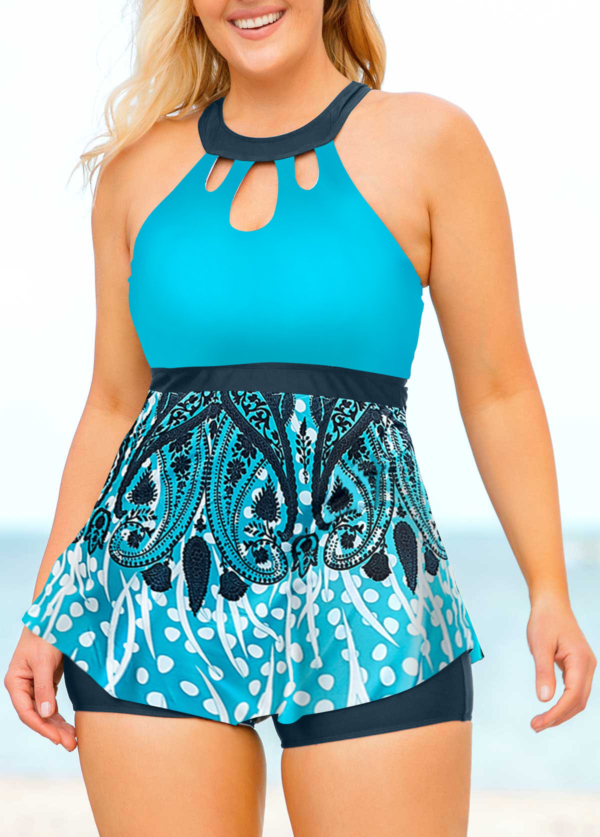 Plus Size Cage Back Printed High Neck Tankini Set