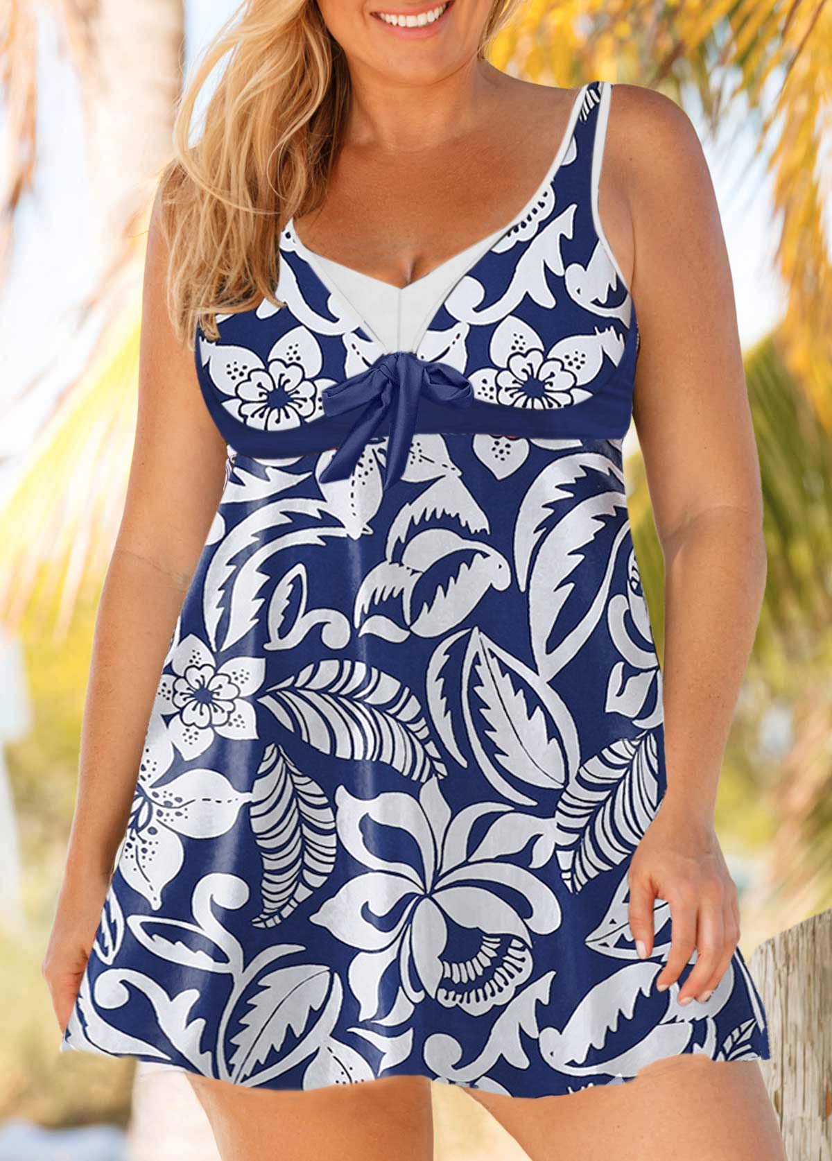 f3a6b6e963 Plus Size Keyhole Back Tie Front Printed Swimdress and Shorts ...