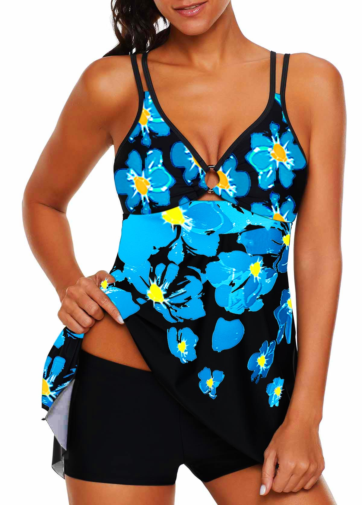 Asymmetric Hem Double Strap Flower Print Swimdress and Shorts
