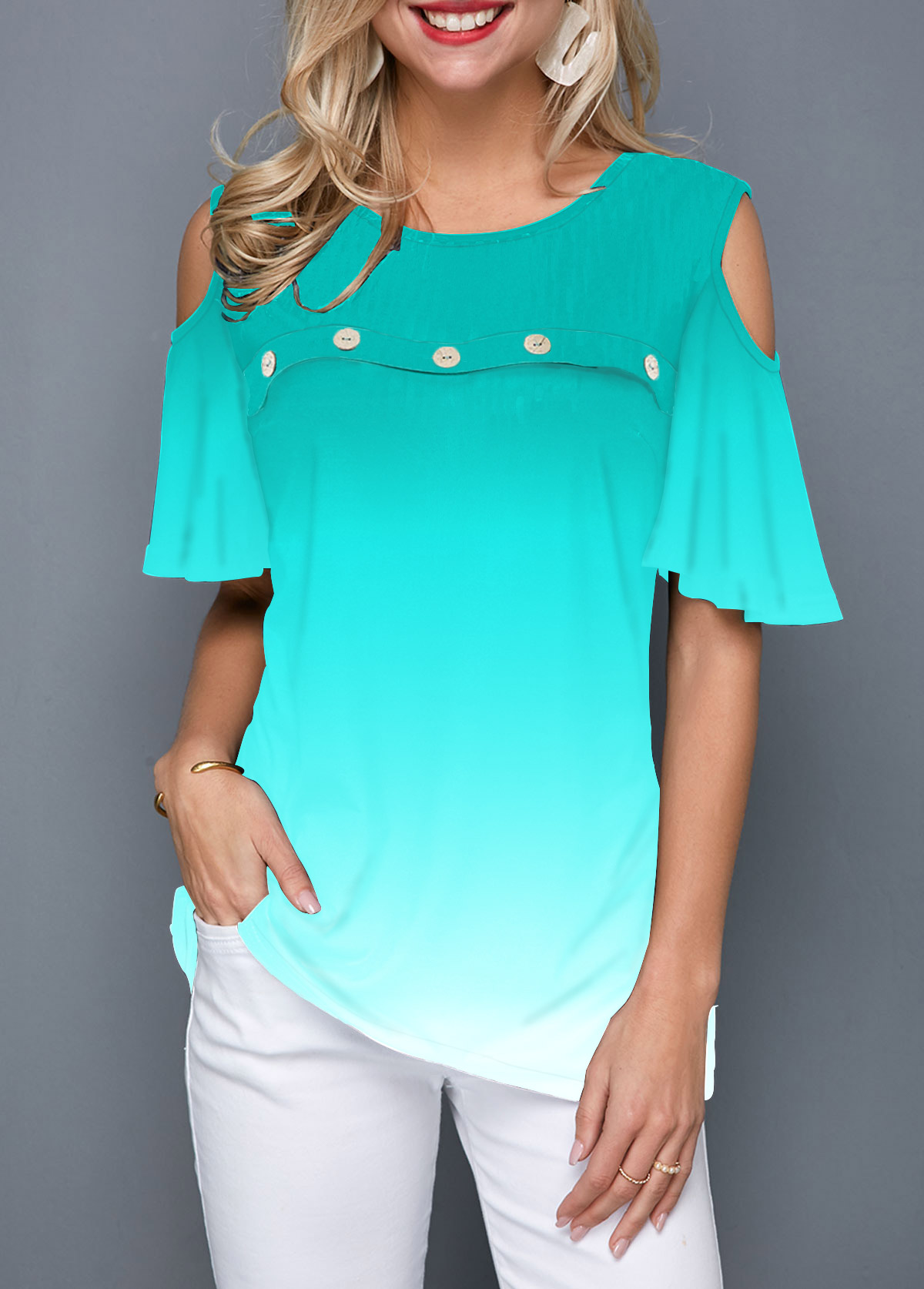 Gradient Cold Shoulder Button Front T Shirt