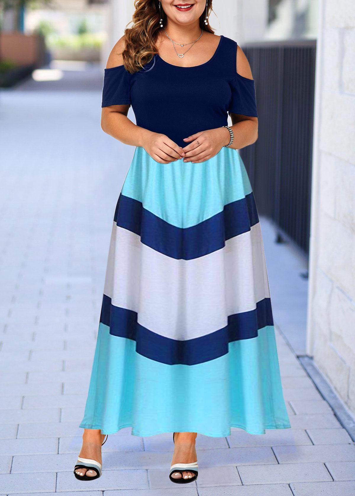 Plus Size Color Block High Waist Cold Shoulder Dress