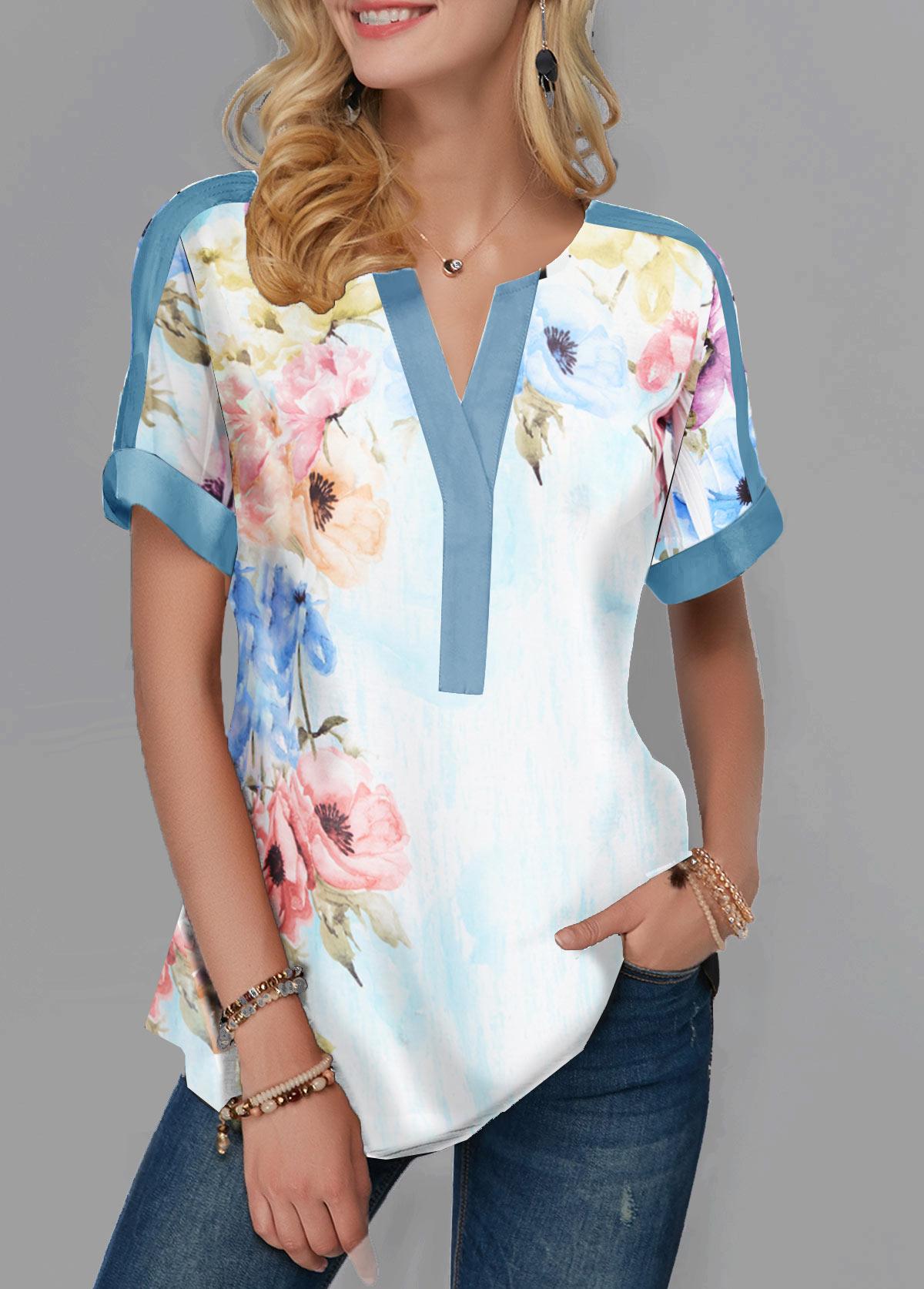 Split Neck Short Sleeve Flower Print Blouse