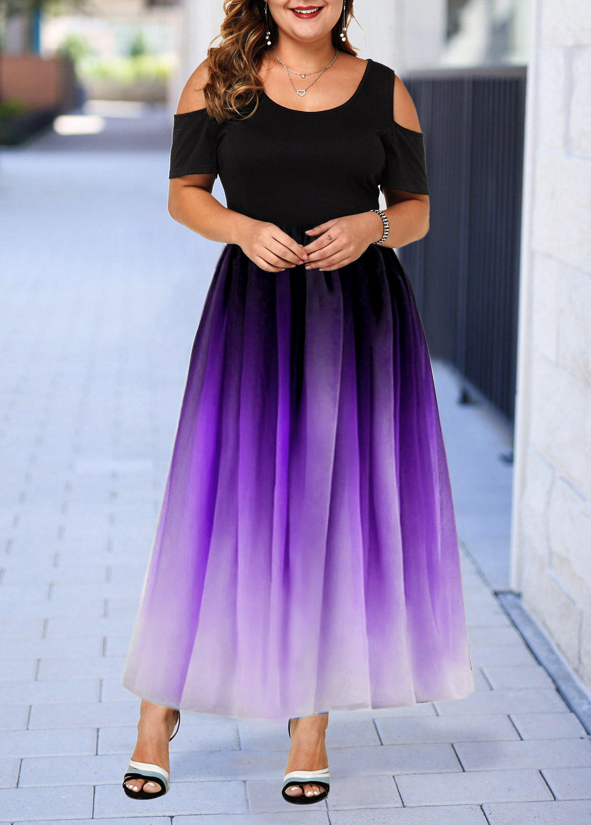 Plus Size Cold Shoulder Gradient Dress
