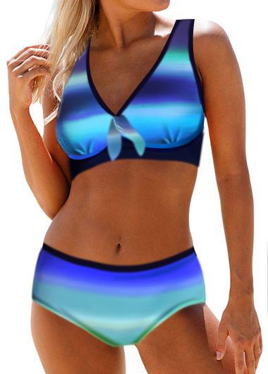 High Waist Printed Open Back Bikini Set