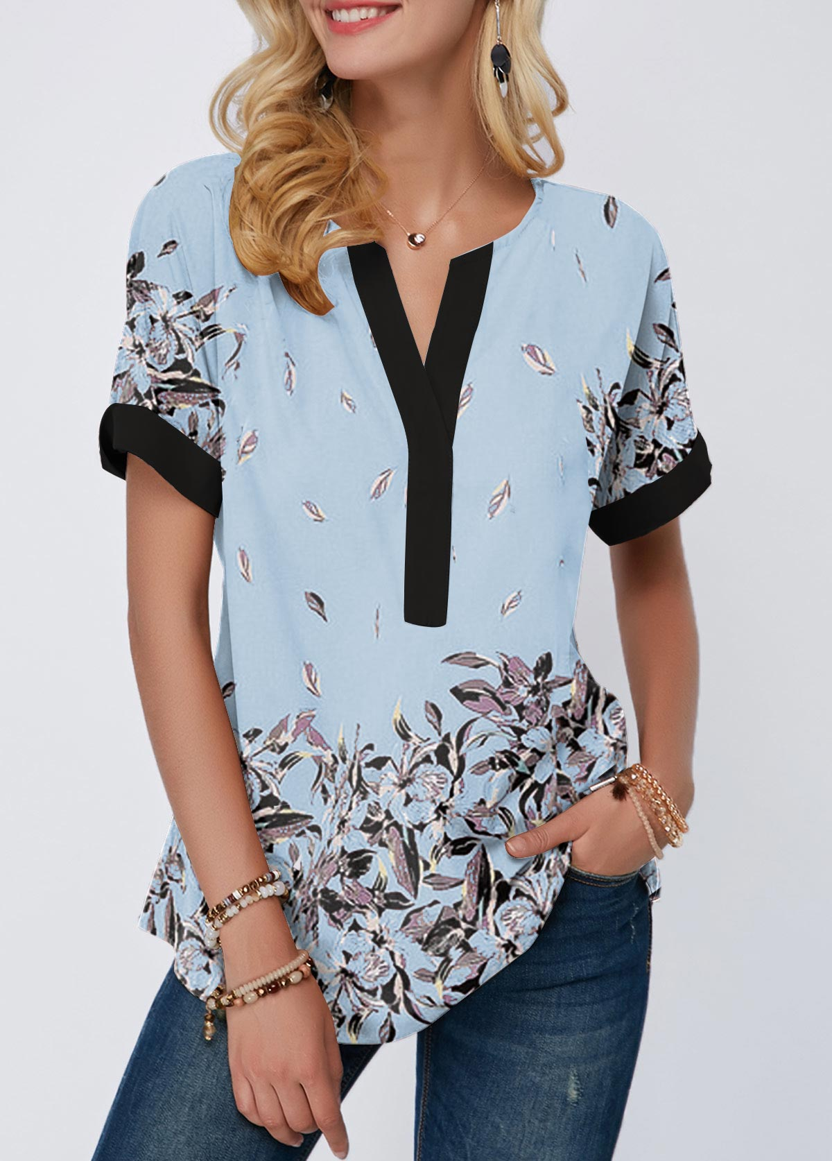 Floral Print Contrast Piping Notch Neck T Shirt