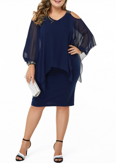 Women'S Plus Size Navy Blue Chiffon Dress Mother Of The Bride Cold Shoulder Flowy Knee Length Long Sleeve Cocktail Party Sequin Sheath Dress - 0X