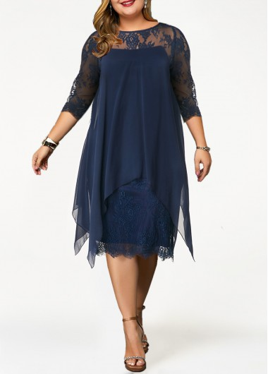 Rosewe Women Dress Plus Size Navy Blue Chiffon Illusion Cocktail Party - 0X