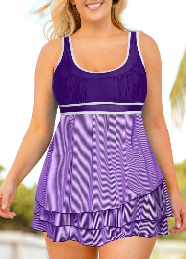 Plus Size Layered Hem Sleeveless Contrast Piping Swimdress and Shorts - 0X