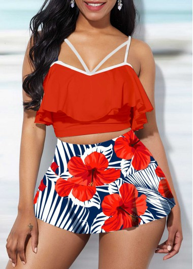 Women High Waisted Two Piece Swimsuit Red Spaghetti Strap Ruffle Overlay Floral Printed Bathing Suit Top And Pantskirt By Rosewe - L