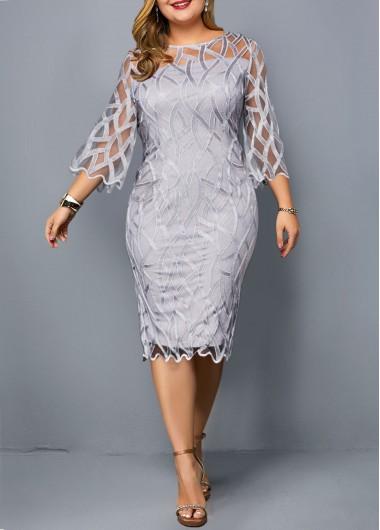 Plus Size Round Neck Light Grey Sheath Dress