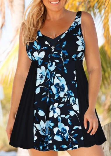 Women Plus Size Floral Printed Swimsuit Black Wide Strap Swimdress And Shorts By Rosewe - 0X