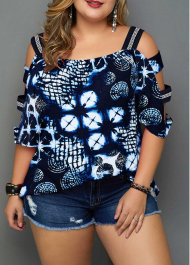 Women'S Navy Blue Plus Size Tunic Blouse Off The Shoulder Strappy Printed Ladder Sleeve Three Quarter Sleeve Casual Top By Rosewe - 0X