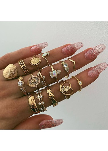 Mother's Day Gifts Various Shape Gold Metal Rhinestone Embellished Ring Set - One Size