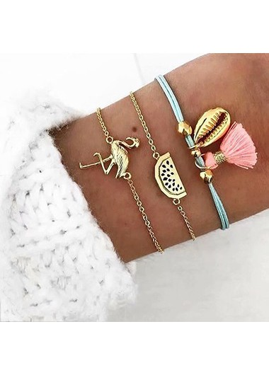 Mother's Day Gifts Flamingo and Seashell Shaped Gold Metal Bracelet Set - One Size