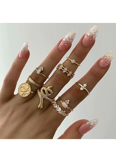 Mother's Day Gifts Gold Metal Rhinestone Embellished Snake Design Ring Set - One Size